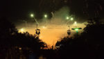 Seilbahngondeln beim Feuerwerk beim Lichterfest